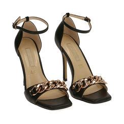 Sandali neri con catena, tacco 10,5 cm , Primadonna, 172114211EPNERO035, 002a