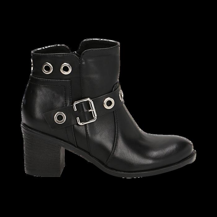Ankle boots neri in eco-pelle con oblò, tacco 7 cm, Scarpe, 130682986EPNERO036