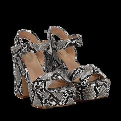 Sandali con plateau bianco/neri in eco-pelle, effetto snake skin, tacco 11 cm , Sandali con tacco, 134903269PTBINE035, 002a
