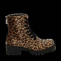 Anfibi leopard in eco-cavallino , Stivaletti, 140585610CVLEMA035, 001a