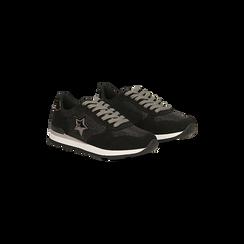 Sneakers nere dettagli glitter e metallizzati , Scarpe, 121308201LMNERO, 002 preview