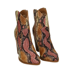Santiags rose/beige en simili-cuir imprimé serpent, talon 9 cm, Chaussures, 154930037PTRSBE035, 002 preview