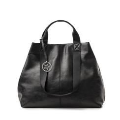 Maxi-bag nera in laminato, 132384211LMNEROUNI, 001a