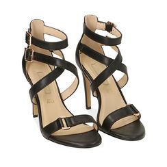 Sandali neri, tacco 10 cm , 172174213EPNERO036, 002a
