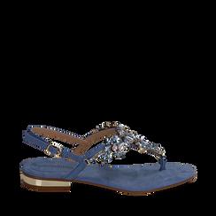 Sandali gioiello infradito azzurri in microfibra, Primadonna, 134994221MFAZZU035, 001a