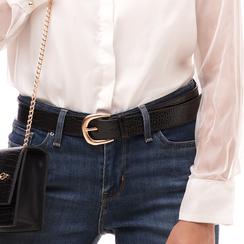 Cintura nera in eco-pelle stampa cocco, Abbigliamento, 144045701CCNEROUNI, 002a
