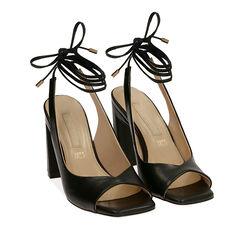 Sandalias negras con cordones, tacón 9,50 cm, 172183672EPNERO037, 002a