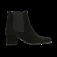 Chelsea Boots in vero camoscio, tacco quadrato medio 5,5 cm, Primadonna, 127722102CMNERO, 001 preview