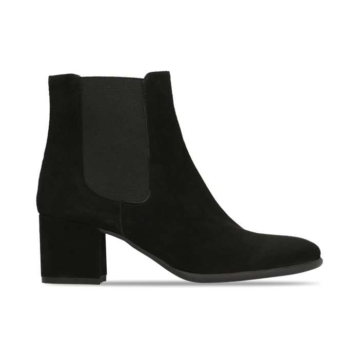 Chelsea Boots in vero camoscio, tacco quadrato medio 5,5 cm, Primadonna, 127722102CMNERO