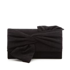 Pochette nera in microfibra con fiocco, Borse, 132300508MFNEROUNI, 001a