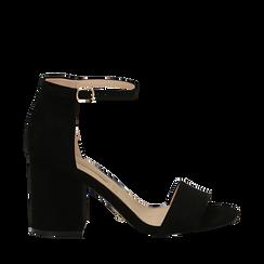 Sandali neri in microfibra con cinturino alla caviglia, tacco quadrato 8 cm, Sandali con tacco, 132177301MFNERO035, 001a