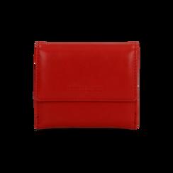 Portafoglio compatto rosso in ecopelle con 6 vani, Borse, 122200895EPROSSUNI, 001 preview