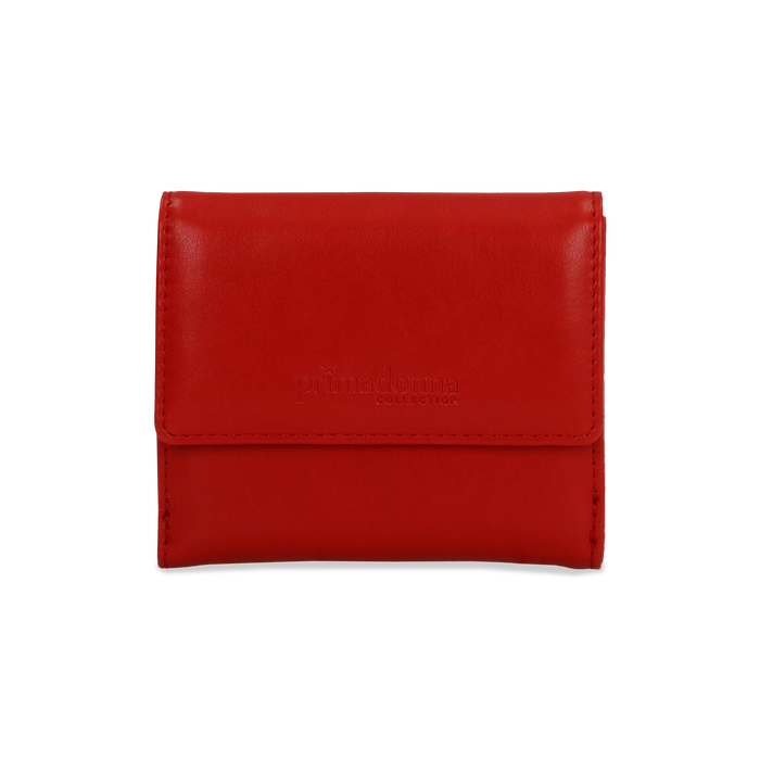 Portafoglio compatto rosso in ecopelle con 6 vani, Borse, 122200895EPROSSUNI