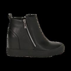 Slip-on nere in eco-pelle, zeppa interna 8 cm, Scarpe, 142008355EPNERO035, 001 preview