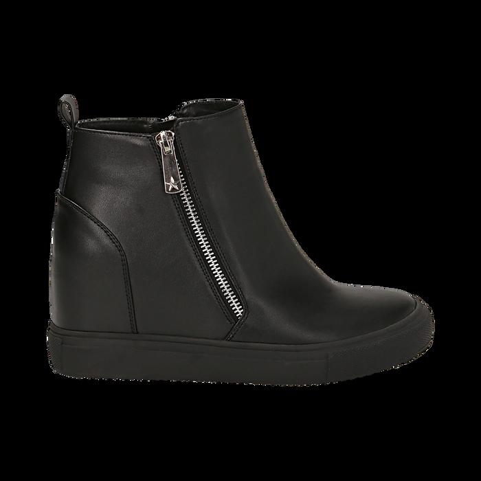 Slip-on nere in eco-pelle, zeppa interna 8 cm, Scarpe, 142008355EPNERO035