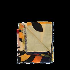 Pashmina gialla in tessuto con stampa Seventies, Abbigliamento, 14B491016TSGIAL3XL, 001a