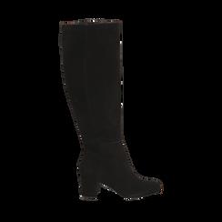 Stivali neri in camoscio, tacco 7 cm, Scarpe, 14D601110CMNERO035, 001a