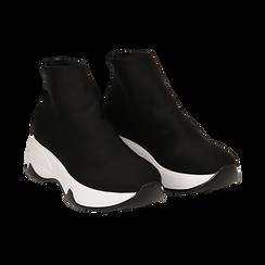 Sneakers a calza nere in lycra, zeppa 5 cm ,