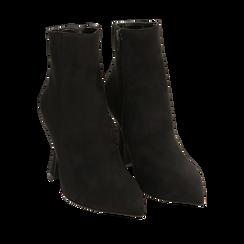 Ankle boots neri in microfibra, tacco 10 cm , 16G890701MFNERO037, 002a