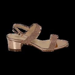 Sandalias efecto espejo color dorado/rosa, tacón 4 cm, OPORTUNIDADES, 154942401SPRAOR036, 001 preview