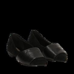 Ballerine a punta nere in microfibra , Scarpe, 144841126MFNERO035, 002a