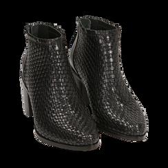 Ankle boots neri in pelle intrecciata, tacco 6,50 cm, Primadonna, 15J492506PINERO036, 002 preview