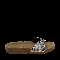 Ciabatte bianco/nere in eco-pelle snake print con suola in sughero , Zapatos, 157801210PTBINE036, 001a