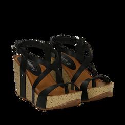 Sandali platform neri in eco-pelle, zeppa in sughero 9 cm , Primadonna, 134901921EPNERO035, 002a