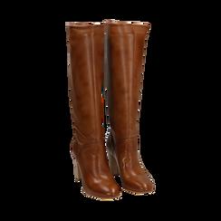 Stivali cuoio in pelle di vitello, tacco 9 cm, Scarpe, 158900890VICUOI036, 002 preview