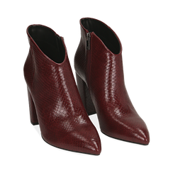 Ankle boots bordeaux stampa vipera, tacco 9 cm , Primadonna, 164916101EVBORD036, 002 preview