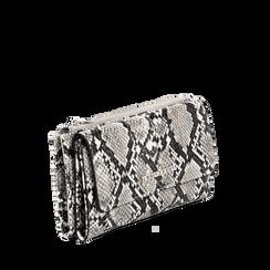 Portafogli bianco/nero in eco-pelle effetto snake skin, Borse, 132300002PTBINEUNI, 002a
