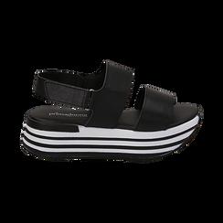 Sandali platform neri in eco-pelle, Scarpe, 136700207EPNERO036, 001 preview