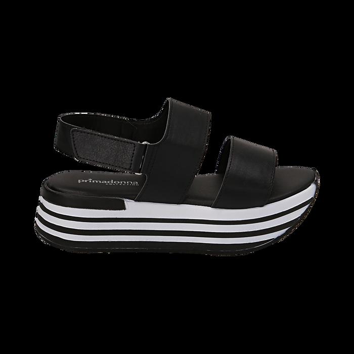 Sandali platform neri in eco-pelle, Scarpe, 136700207EPNERO036