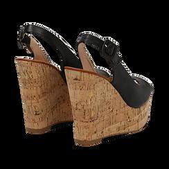 Sandali platform neri in eco-pelle, zeppa in sughero 12 cm , Primadonna, 134907982EPNERO035, 004 preview