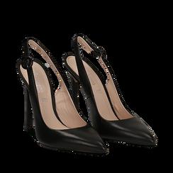 Slingback nere in vitello, tacco stiletto 11 cm , Scarpe, 13D600102VINERO035, 002a