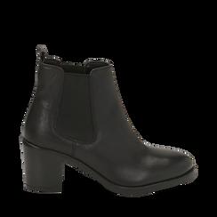 Ankle bottes en cuir noir, talon 4,50 cm, Primadonna, 169495750PENERO036, 001a