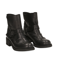 Biker boots neri con fibbia in pelle, tacco 4 cm , Primadonna, 147718215PENERO035, 002a