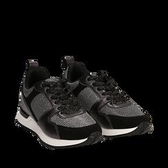 Sneakers canna di fucile glitter con dettagli in eco-pelle, Scarpe, 14D814301GLCANN035, 002a