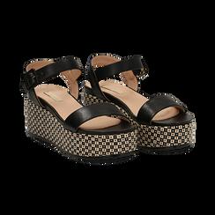 Sandali platform neri in eco-pelle, zeppa intrecciata 6,50 cm , Primadonna, 134938301EPNERO, 002 preview