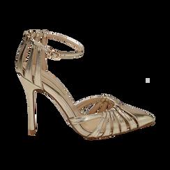 Décolleté laminado con tira color oro, tacón 11 cm , Zapatos, 152168657LMOROG037, 001 preview