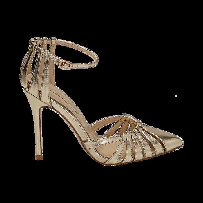 Décolleté laminado con tira color oro, tacón 11 cm , Zapatos, 152168657LMOROG037