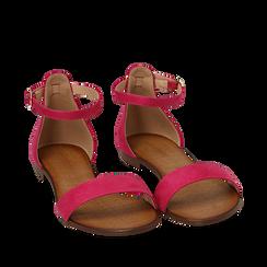 Sandali fucsia in microfibra, Chaussures, 154903091MFFUCS035, 002a