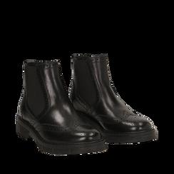 Chelsea boots neri in pelle di vitello, Stivaletti, 147723704VINERO035, 002a