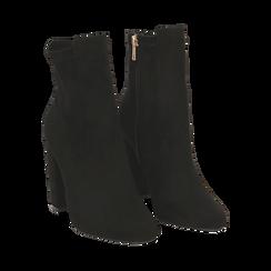 Ankle boots neri in microfibra, tacco 9,5 cm , Stivaletti, 142166061MFNERO035, 002 preview