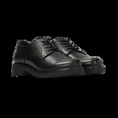Stringate nere in eco-pelle, Scarpe, 140801201EPNERO036, 002 preview