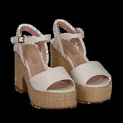 Sandali bianchi in eco-pelle con plateau, tacco 11 cm , Scarpe, 133401986EPBIAN035, 002a