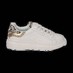 Sneakers en ecopiel color blanco con detalles brillantes, Zapatos, 152602011EPBIAN036, 001a