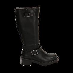 Biker boots con fibbie neri in eco-pelle, tacco 4,5 cm , Scarpe, 14A702710EPNERO035, 001 preview