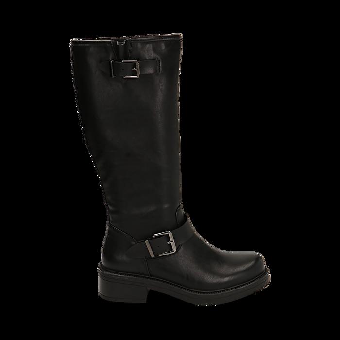 Biker boots con fibbie neri in eco-pelle, tacco 4,5 cm , Scarpe, 14A702710EPNERO035