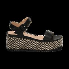 Sandali platform neri in eco-pelle, zeppa intrecciata 6,50 cm , Primadonna, 134938301EPNERO, 001 preview